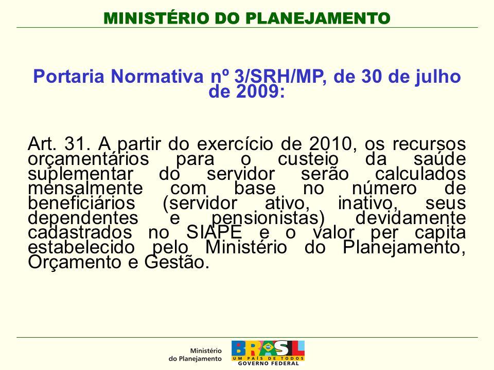MINISTÉRIO DO PLANEJAMENTO Portaria Normativa nº 3/SRH/MP, de 30 de julho de 2009: Art.