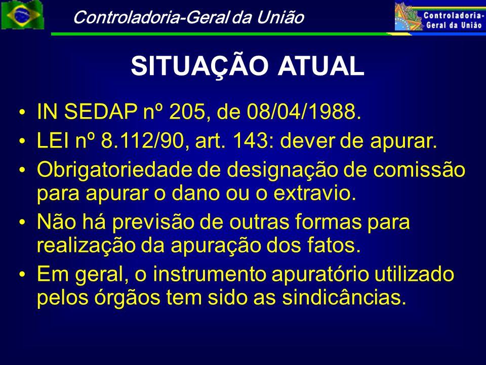 Controladoria-Geral da União SITUAÇÃO ATUAL IN SEDAP nº 205, de 08/04/1988. LEI nº 8.112/90, art. 143: dever de apurar. Obrigatoriedade de designação