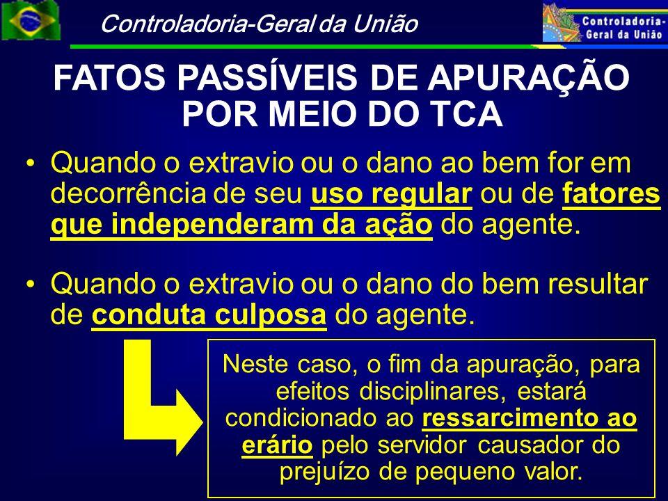Controladoria-Geral da União FATOS PASSÍVEIS DE APURAÇÃO POR MEIO DO TCA Quando o extravio ou o dano ao bem for em decorrência de seu uso regular ou d