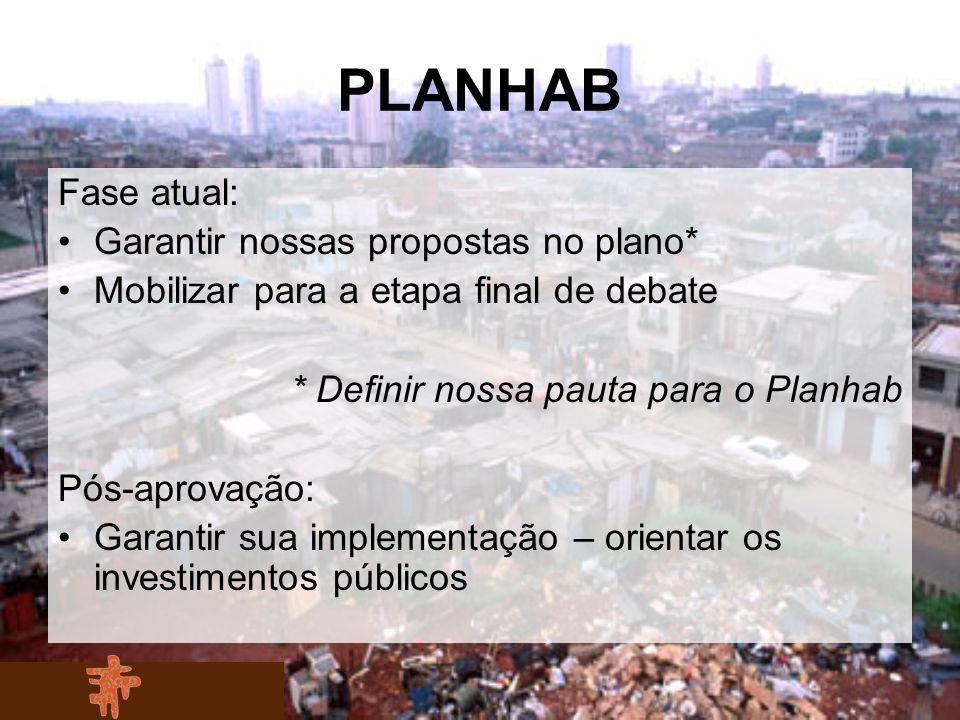 PLANHAB Fase atual: Garantir nossas propostas no plano* Mobilizar para a etapa final de debate * Definir nossa pauta para o Planhab Pós-aprovação: Gar