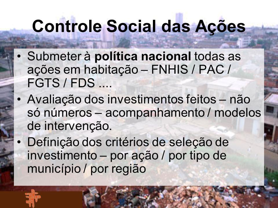 Controle Social das Ações Submeter à política nacional todas as ações em habitação – FNHIS / PAC / FGTS / FDS.... Avaliação dos investimentos feitos –