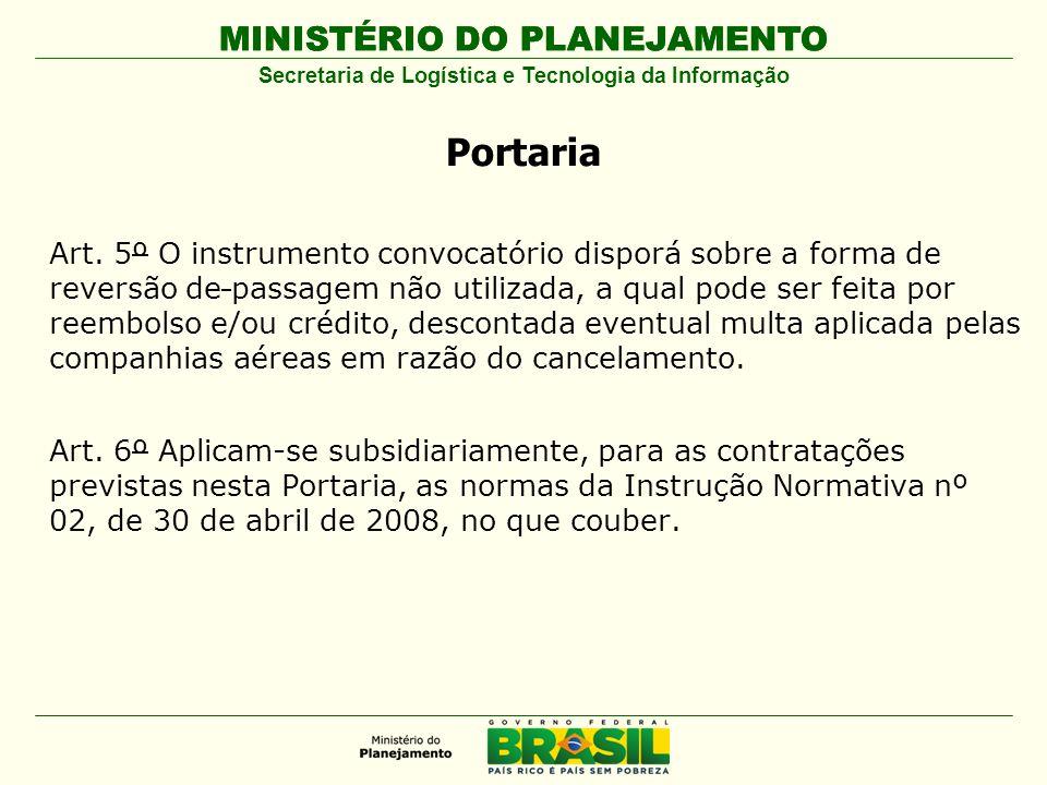 MINISTÉRIO DO PLANEJAMENTO Secretaria de Logística e Tecnologia da Informação Portaria Art.