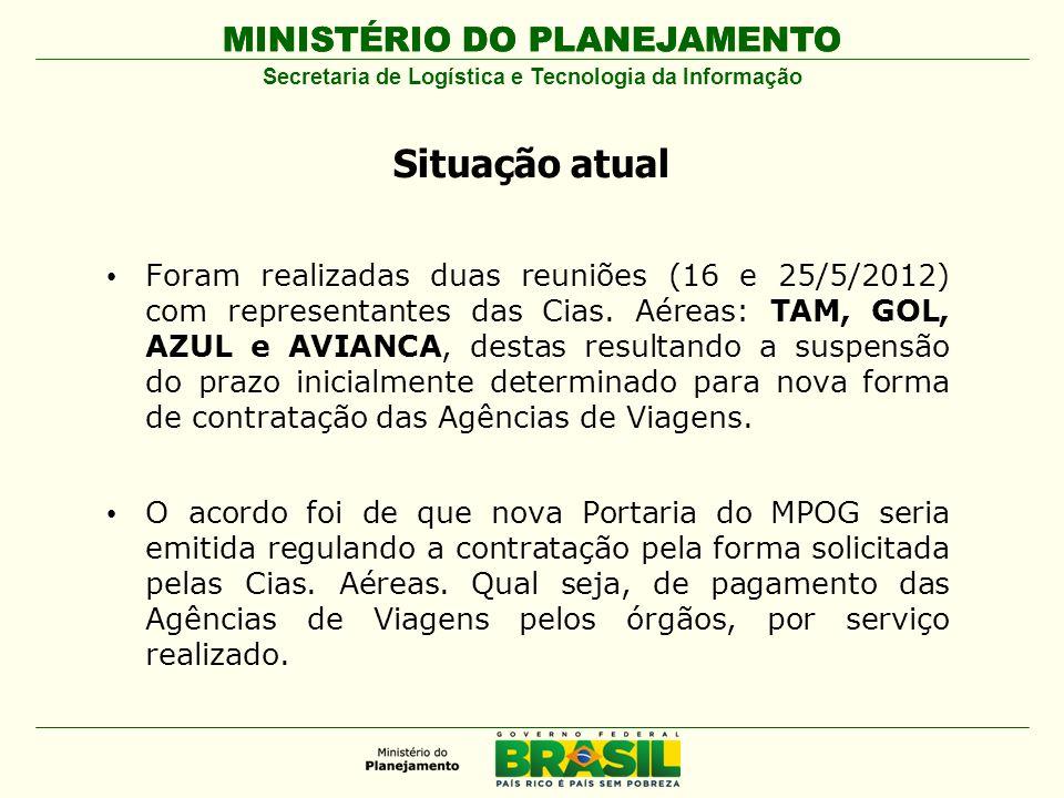 MINISTÉRIO DO PLANEJAMENTO Secretaria de Logística e Tecnologia da Informação Situação atual Foram realizadas duas reuniões (16 e 25/5/2012) com representantes das Cias.