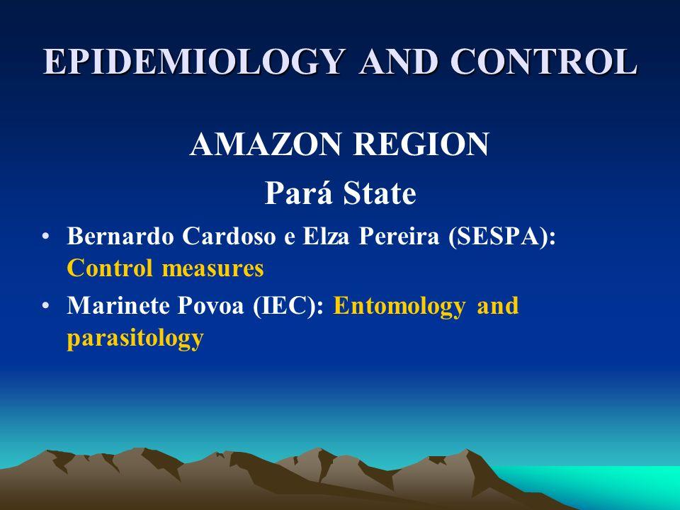 EPIDEMIOLOGY AND CONTROL AMAZON REGION Pará State Bernardo Cardoso e Elza Pereira (SESPA): Control measures Marinete Povoa (IEC): Entomology and paras