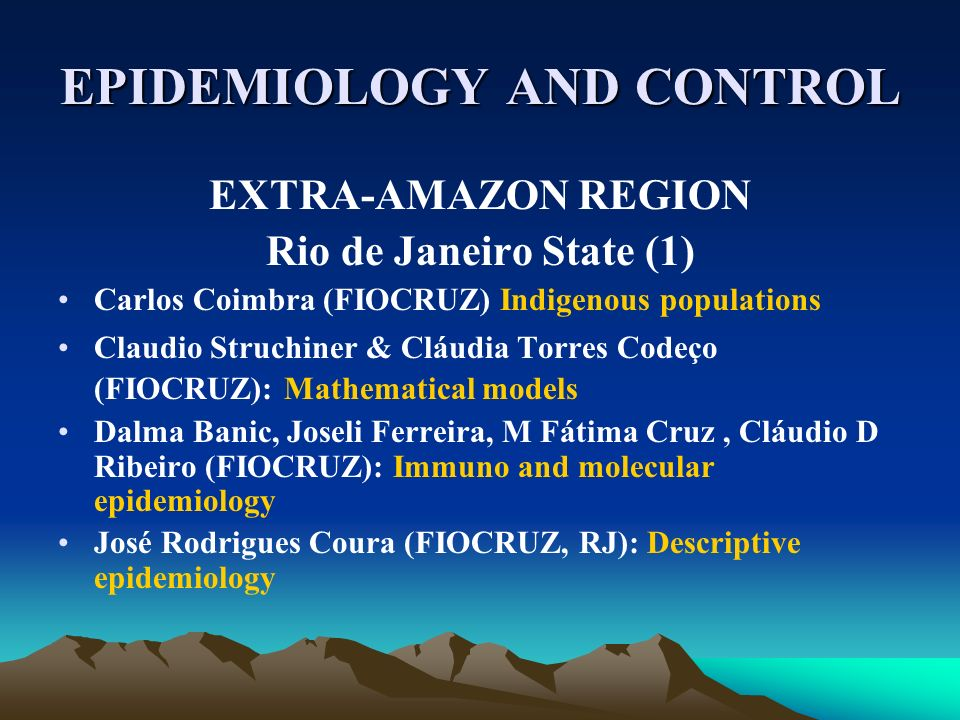 EPIDEMIOLOGY AND CONTROL EXTRA-AMAZON REGION Rio de Janeiro State (1) Carlos Coimbra (FIOCRUZ) Indigenous populations Claudio Struchiner & Cláudia Tor