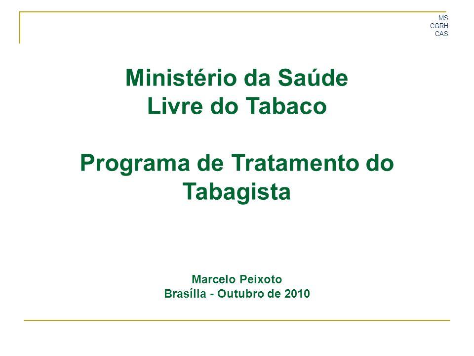 MS CGRH CAS Ministério da Saúde Livre do Tabaco Programa de Tratamento do Tabagista Marcelo Peixoto Brasília - Outubro de 2010