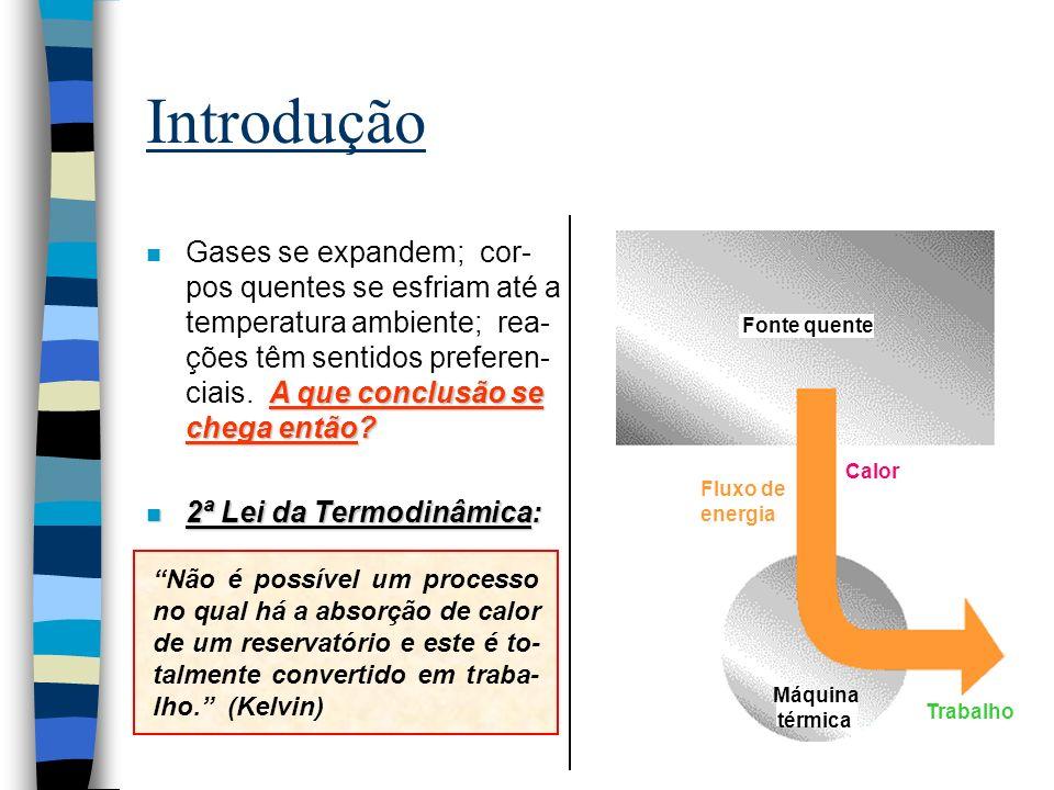 O Sentido da Mudança Espontânea Será o sentido no qual a energia do sistema tende a um mínimo ( H < 0).