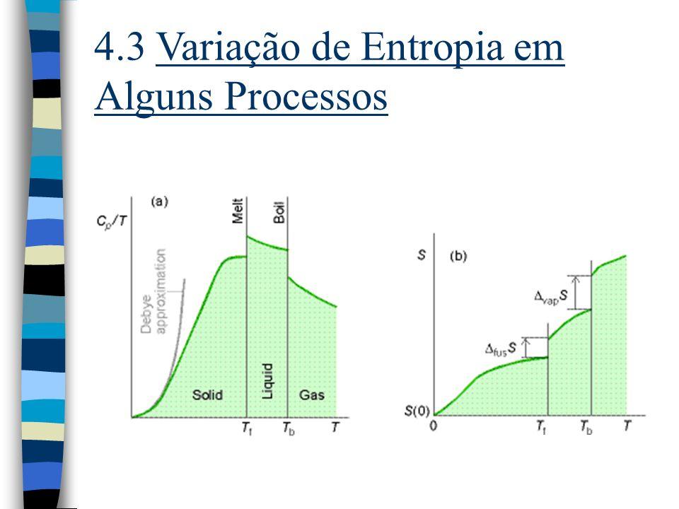 4.4 A 3ª Lei da Termodinâmica n O Teorema do Calor de Nernst: n A Terceira Lei da Termodinâmica: A variação de entropia que acompanha qualquer proces- so físico ou químico tende a zero quando a temperatura tende a zero: S 0 quando T 0.