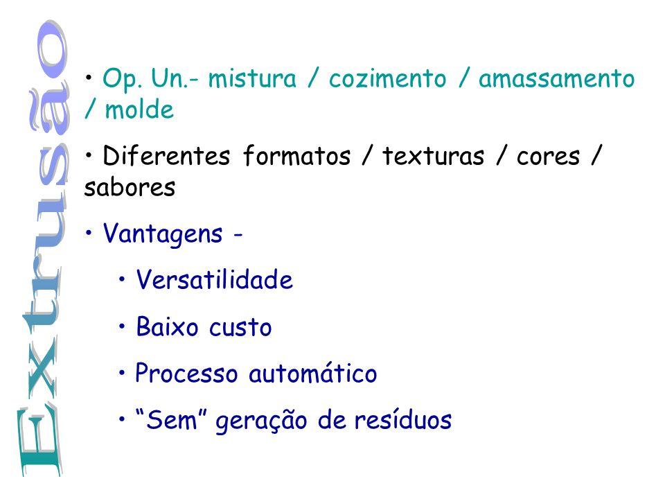 Op. Un.- mistura / cozimento / amassamento / molde Diferentes formatos / texturas / cores / sabores Vantagens - Versatilidade Baixo custo Processo aut