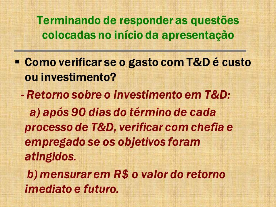 Terminando de responder as questões colocadas no início da apresentação Como verificar se o gasto com T&D é custo ou investimento? - Retorno sobre o i