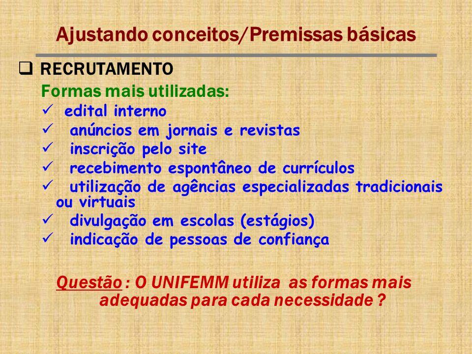 Ajustando conceitos/Premissas básicas RECRUTAMENTO Formas mais utilizadas: edital interno anúncios em jornais e revistas inscrição pelo site recebimen