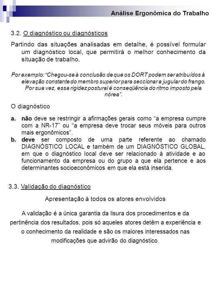 Análise Ergonômica do Trabalho 3.2. O diagnóstico ou diagnósticos Partindo das situações analisadas em detalhe, é possível formular um diagnóstico loc