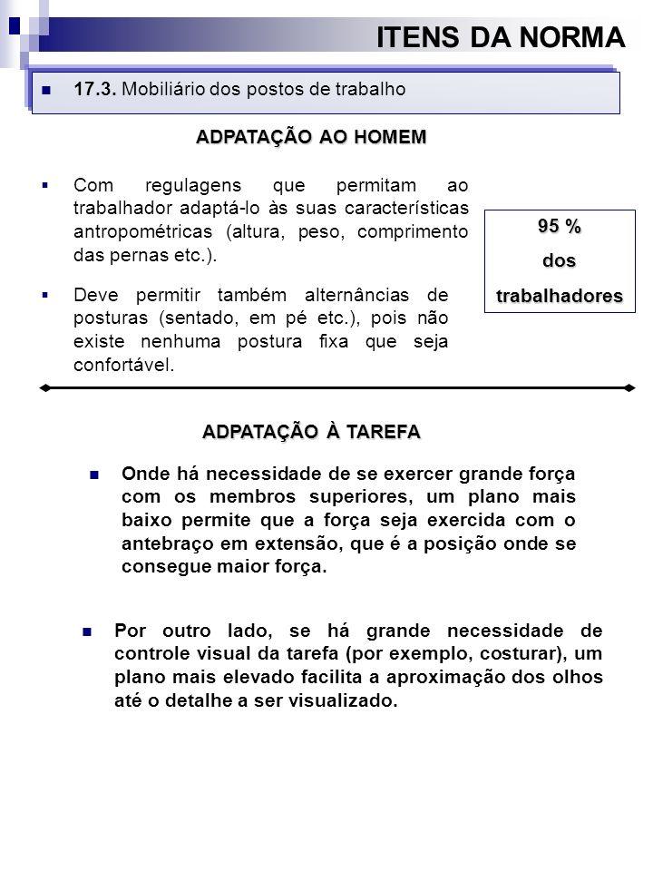 ITENS DA NORMA 17.3. Mobiliário dos postos de trabalho Com regulagens que permitam ao trabalhador adaptá-lo às suas características antropométricas (a