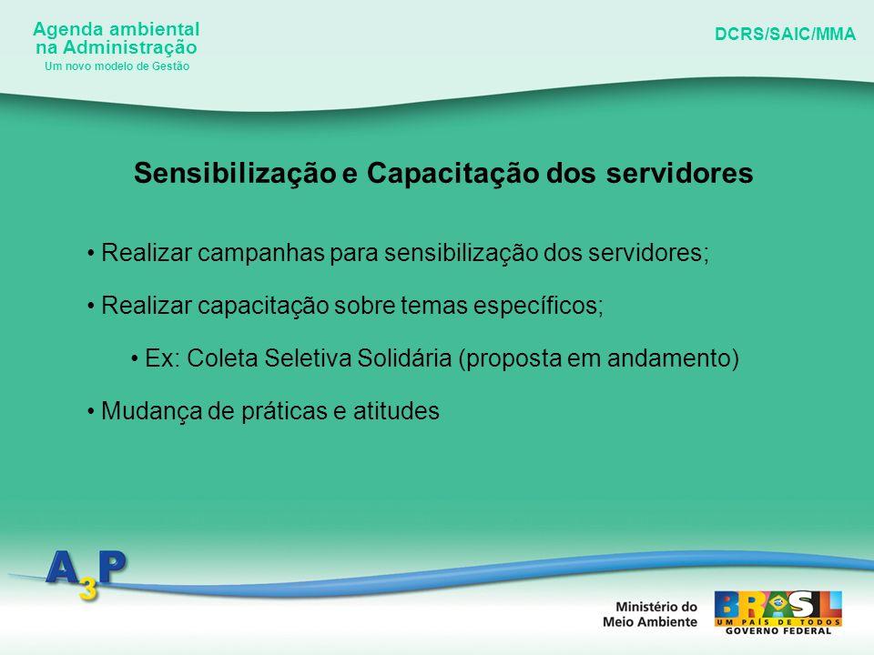Agenda ambiental na Administração DCRS/SAIC/MMA Um novo modelo de Gestão Sensibilização e Capacitação dos servidores Realizar campanhas para sensibili