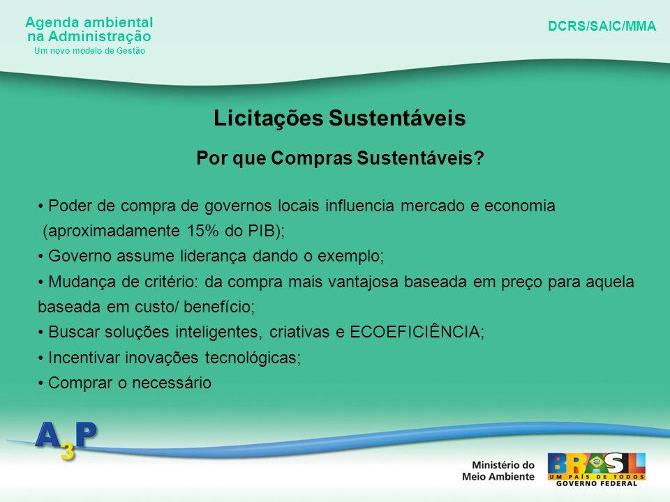 Agenda ambiental na Administração DCRS/SAIC/MMA Um novo modelo de Gestão Licitações Sustentáveis Por que Compras Sustentáveis? Poder de compra de gove