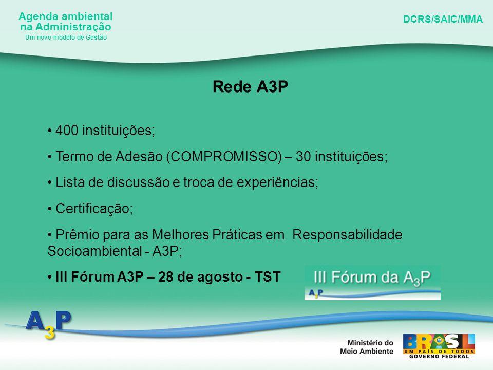 Agenda ambiental na Administração DCRS/SAIC/MMA Um novo modelo de Gestão Rede A3P 400 instituições; Termo de Adesão (COMPROMISSO) – 30 instituições; L