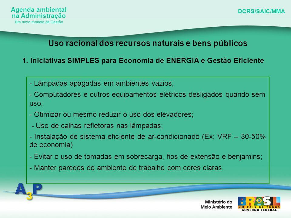 Agenda ambiental na Administração DCRS/SAIC/MMA Um novo modelo de Gestão Uso racional dos recursos naturais e bens públicos 1. Iniciativas SIMPLES par