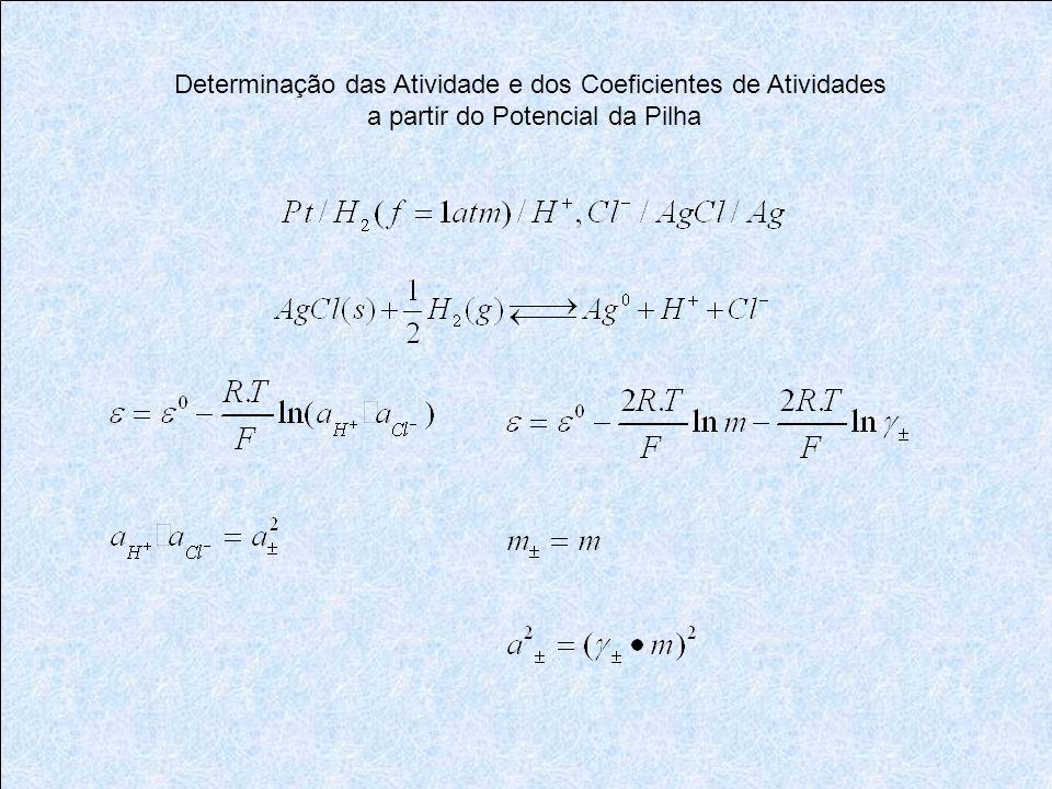 Determinação das Atividade e dos Coeficientes de Atividades a partir do Potencial da Pilha