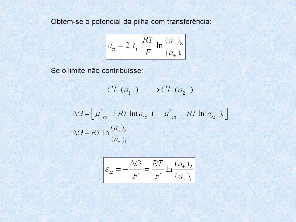 Obtem-se o potencial da pilha com transferência: Se o limite não contribuísse: