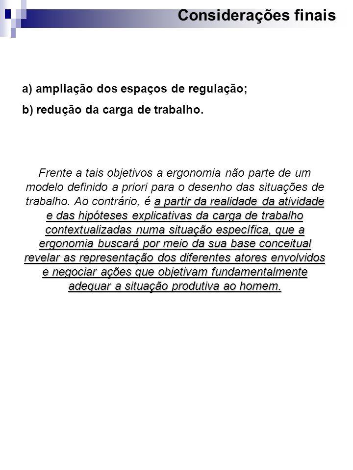 Considerações finais a) ampliação dos espaços de regulação; b) redução da carga de trabalho. a partir da realidade da atividade e das hipóteses explic