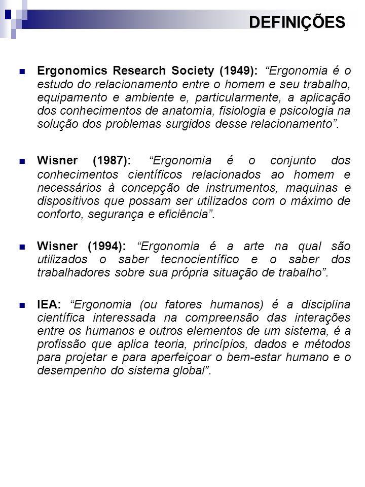 Ergonomics Research Society (1949): Ergonomia é o estudo do relacionamento entre o homem e seu trabalho, equipamento e ambiente e, particularmente, a
