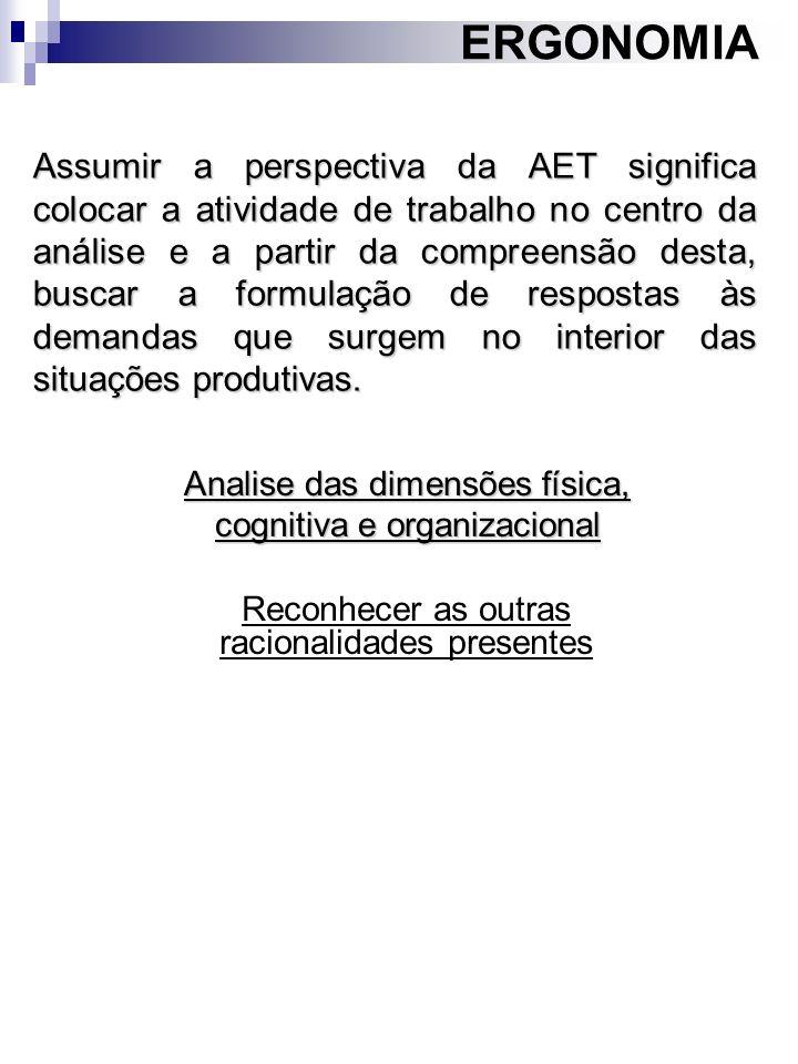 ERGONOMIA Reconhecer as outras racionalidades presentes Assumir a perspectiva da AET significa colocar a atividade de trabalho no centro da análise e
