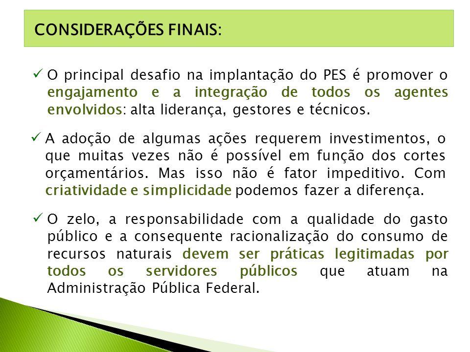 CONSIDERAÇÕES FINAIS: O principal desafio na implantação do PES é promover o engajamento e a integração de todos os agentes envolvidos: alta liderança