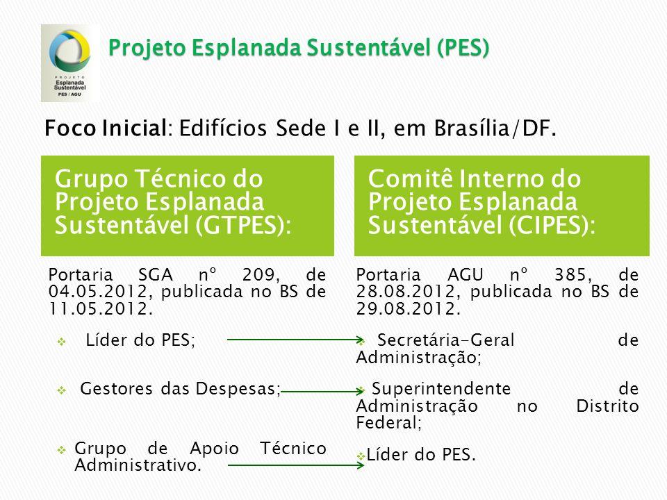 Grupo Técnico do Projeto Esplanada Sustentável (GTPES): Portaria SGA nº 209, de 04.05.2012, publicada no BS de 11.05.2012. Líder do PES; Gestores das