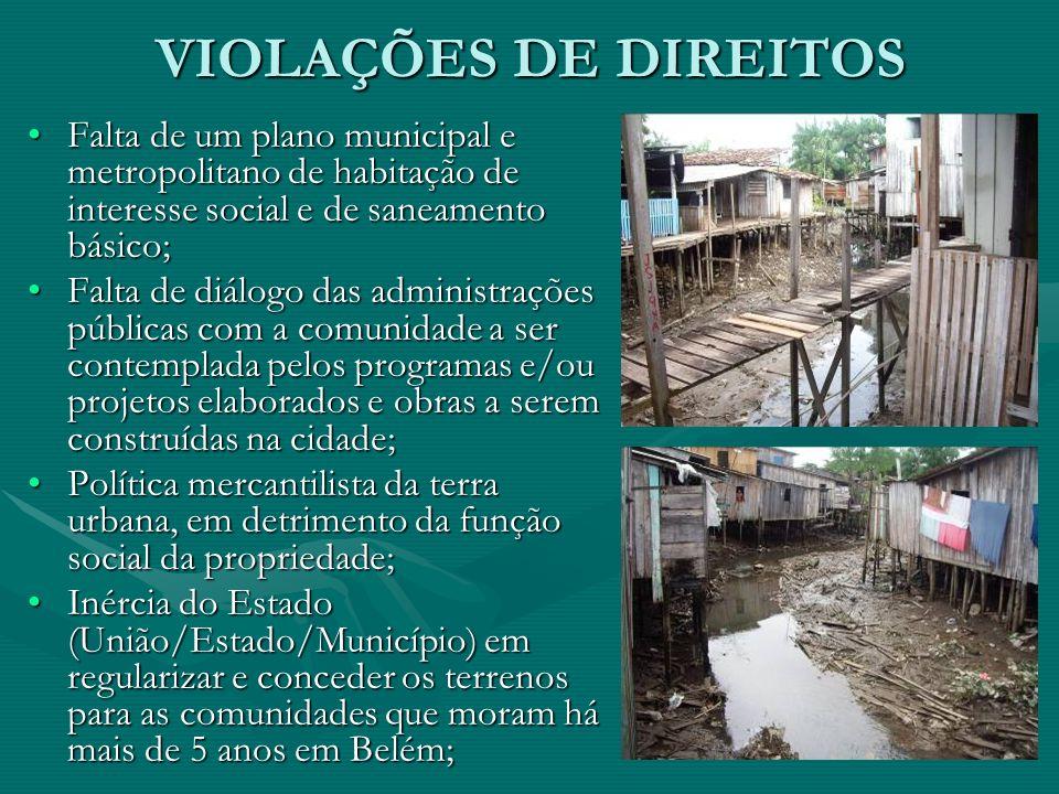 VIOLAÇÕES DE DIREITOS Falta de um plano municipal e metropolitano de habitação de interesse social e de saneamento básico;Falta de um plano municipal