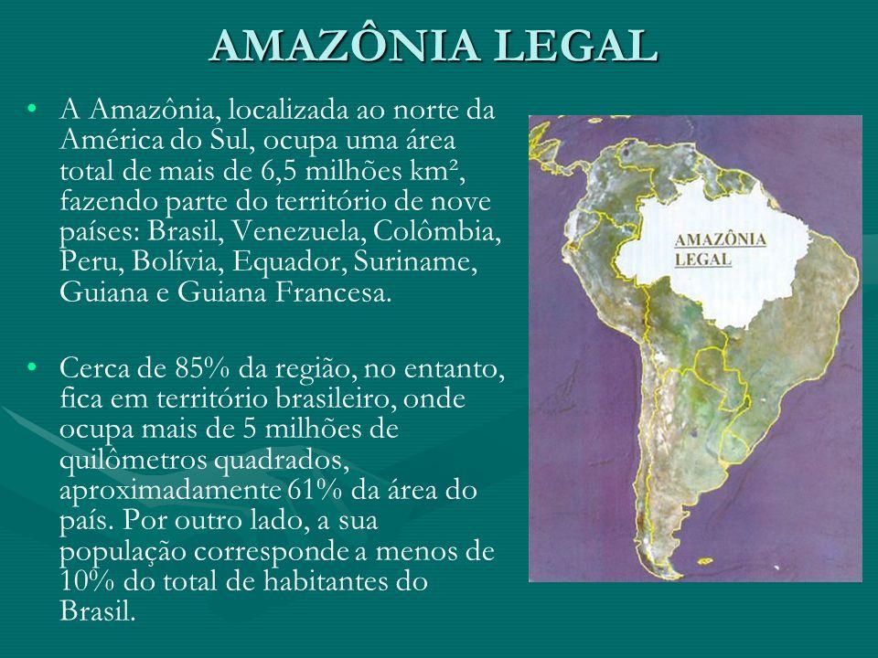 AMAZÔNIA LEGAL A Amazônia, localizada ao norte da América do Sul, ocupa uma área total de mais de 6,5 milhões km², fazendo parte do território de nove