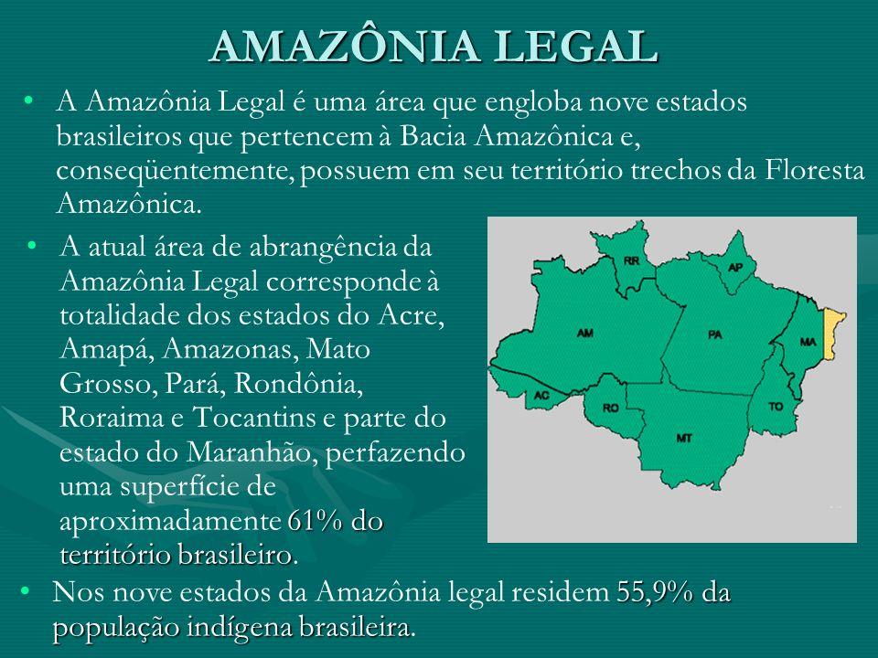 AMAZÔNIA LEGAL 61% do território brasileiroA atual área de abrangência da Amazônia Legal corresponde à totalidade dos estados do Acre, Amapá, Amazonas