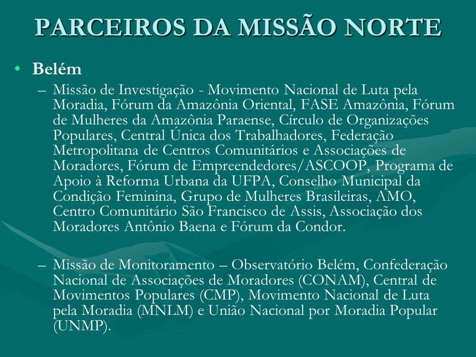 PARCEIROS DA MISSÃO NORTE Belém – –Missão de Investigação - Movimento Nacional de Luta pela Moradia, Fórum da Amazônia Oriental, FASE Amazônia, Fórum
