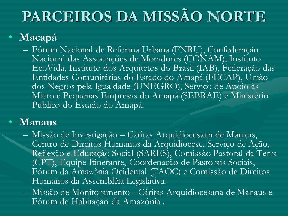 Macapá – –Fórum Nacional de Reforma Urbana (FNRU), Confederação Nacional das Associações de Moradores (CONAM), Instituto EcoVida, Instituto dos Arquit