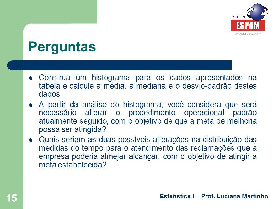 Estatística I – Prof. Luciana Martinho 15 Perguntas Construa um histograma para os dados apresentados na tabela e calcule a média, a mediana e o desvi