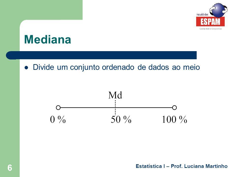 Estatística I – Prof. Luciana Martinho 7 Moda Valor que mais aparece na distribuição