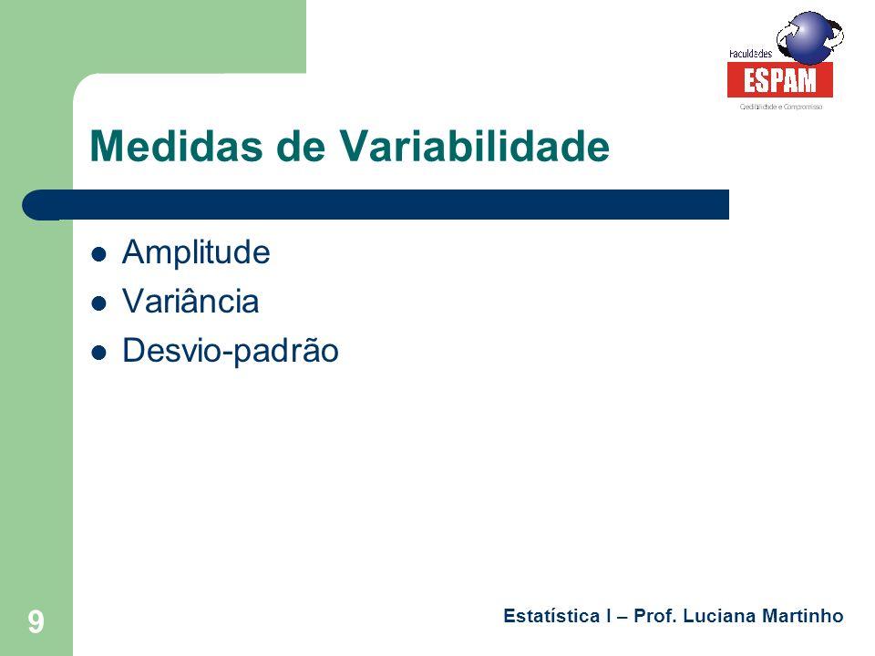 Estatística I – Prof. Luciana Martinho 9 Medidas de Variabilidade Amplitude Variância Desvio-padrão