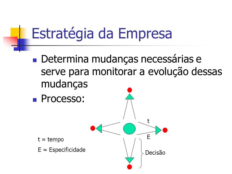Estratégia da Empresa Determina mudanças necessárias e serve para monitorar a evolução dessas mudanças Processo: t = tempo E = Especificidade t E Deci