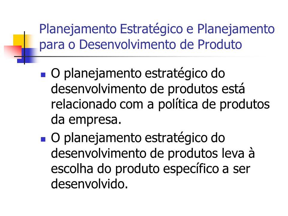 Planejamento Estratégico e Planejamento para o Desenvolvimento de Produto O planejamento estratégico do desenvolvimento de produtos está relacionado c