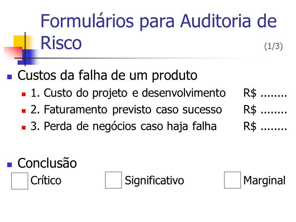 Formulários para Auditoria de Risco (1/3) Custos da falha de um produto 1. Custo do projeto e desenvolvimentoR$........ 2. Faturamento previsto caso s