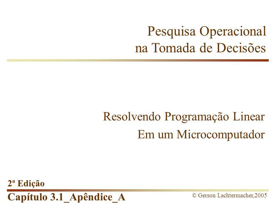 Capítulo 3.1_Apêndice_A Conteúdos do Capítulo Programação Linear Software Lindo Versão Windows e comandos Formulação do problema Solução do problema Reduced cost Sintaxe modelo Comandos opcionais File   Log output O Caso do Vendedor de Frutas