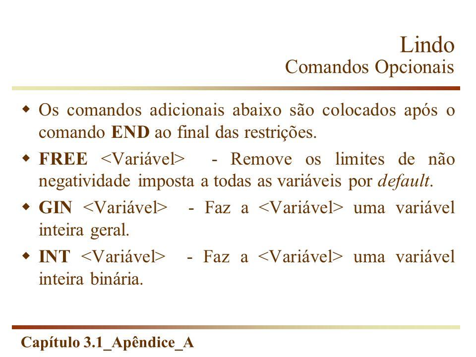 Capítulo 3.1_Apêndice_A Lindo Comandos Opcionais Os comandos adicionais abaixo são colocados após o comando END ao final das restrições. FREE - Remove