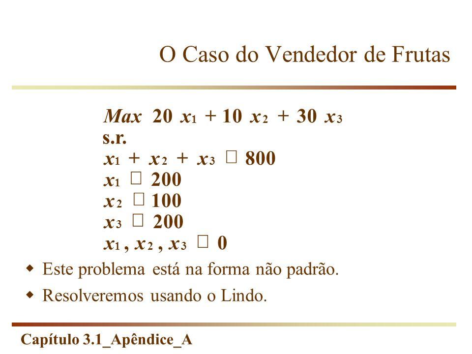 Capítulo 3.1_Apêndice_A 0,, 200 100 200 800 s.r. 301020 321 3 2 1 321 321 xx x x x x xxx xxxMax Este problema está na forma não padrão. Resolveremos u
