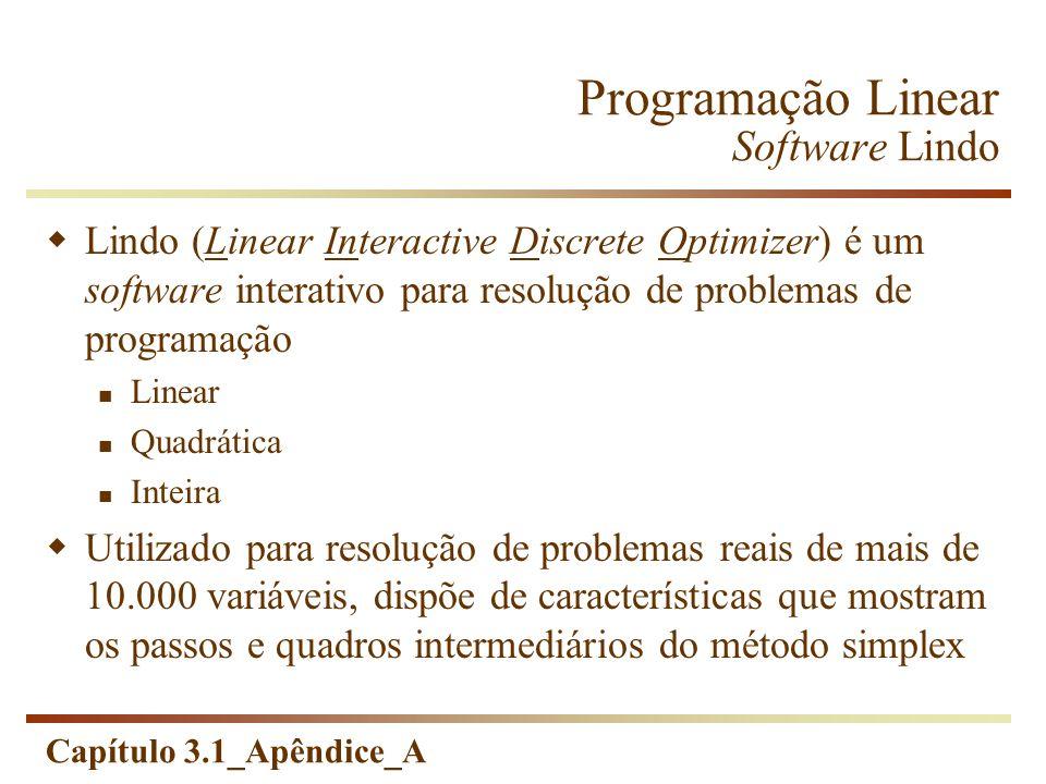 Capítulo 3.1_Apêndice_A Programação Linear Software Lindo Lindo (Linear Interactive Discrete Optimizer) é um software interativo para resolução de pro