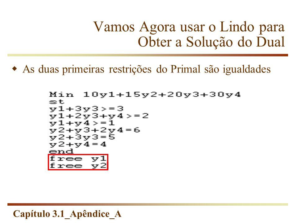 Capítulo 3.1_Apêndice_A Vamos Agora usar o Lindo para Obter a Solução do Dual As duas primeiras restrições do Primal são igualdades