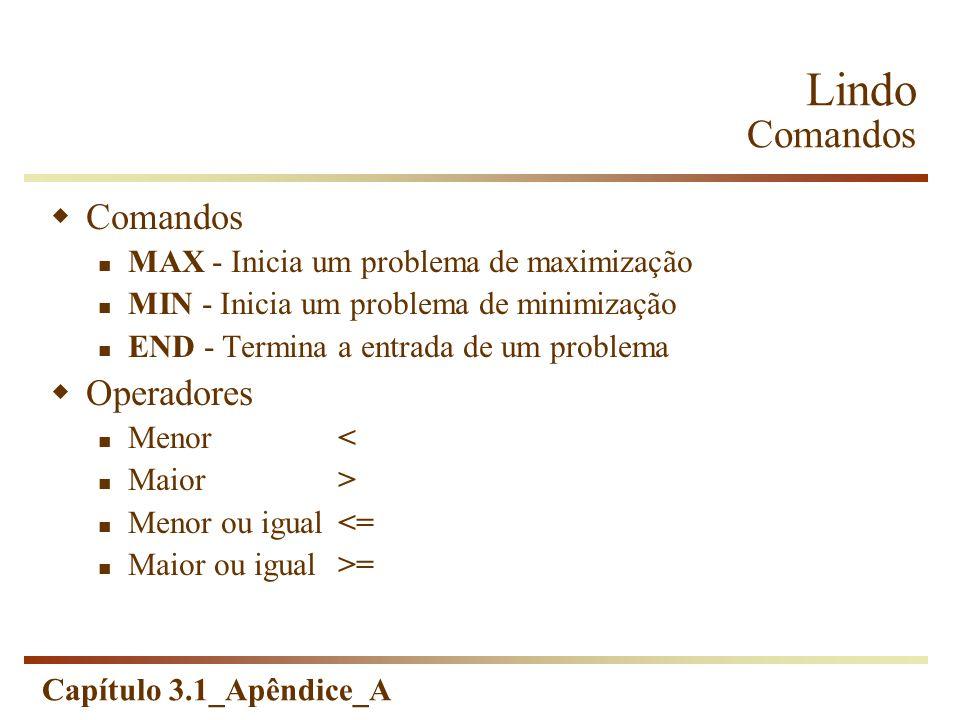Capítulo 3.1_Apêndice_A Lindo Comandos Comandos MAX - Inicia um problema de maximização MIN - Inicia um problema de minimização END - Termina a entrad