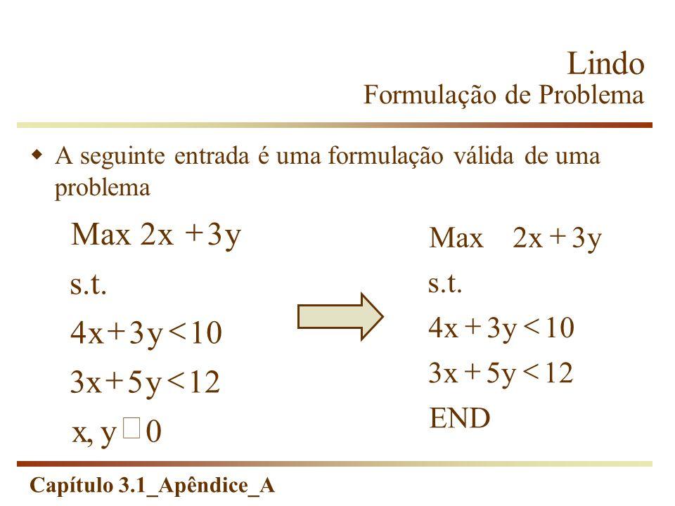 Capítulo 3.1_Apêndice_A Lindo Formulação de Problema Solve Se a sintaxe não estiver correta, a seguinte mensagem aparecerá: An error occured during compilation on line: n