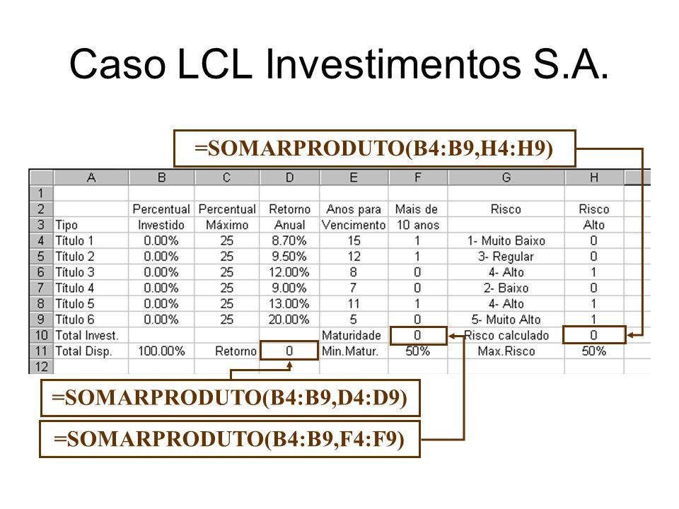 =SOMARPRODUTO(B4:B9,D4:D9) =SOMARPRODUTO(B4:B9,F4:F9) =SOMARPRODUTO(B4:B9,H4:H9) Caso LCL Investimentos S.A.