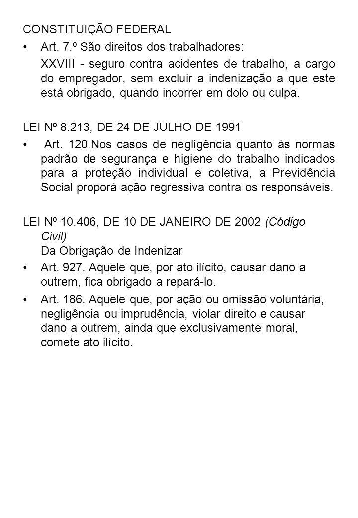 CONSTITUIÇÃO FEDERAL Art. 7.º São direitos dos trabalhadores: XXVIII - seguro contra acidentes de trabalho, a cargo do empregador, sem excluir a inden