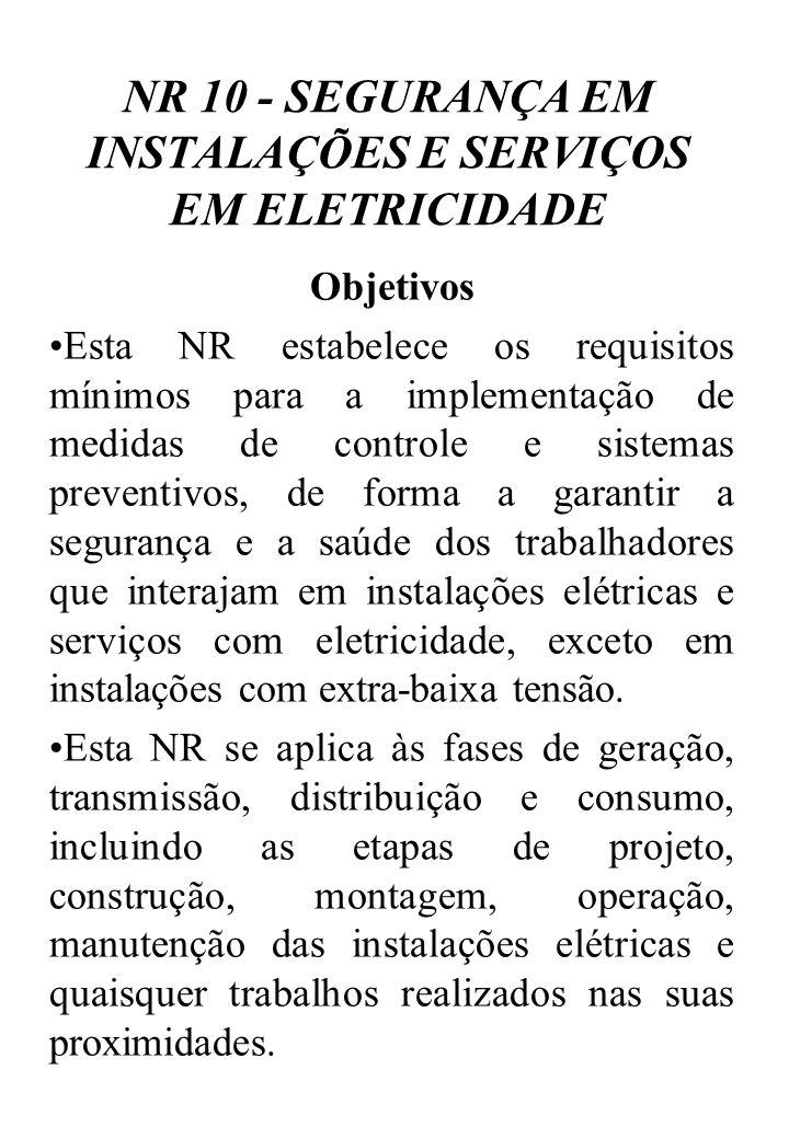 Medidas de Controle Em todas as intervenções em instalações elétricas devem ser adotadas medidas preventivas de controle do risco elétrico e de outros riscos adicionais, mediante técnicas de análise de risco, de forma a garantir a segurança e a saúde no trabalho.