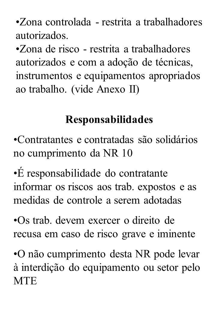 Responsabilidades Contratantes e contratadas são solidários no cumprimento da NR 10 É responsabilidade do contratante informar os riscos aos trab.